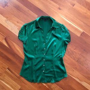 Emerald Green Jeweled Button Up Dress Shirt